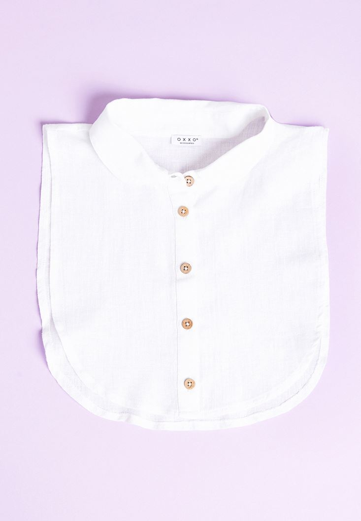 White Linen Neck with Buttons