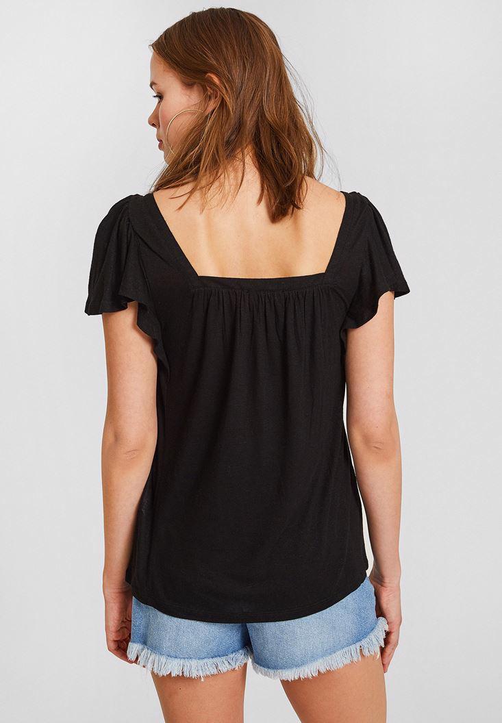 Bayan Siyah Kolları Büzgü Detaylı Bluz