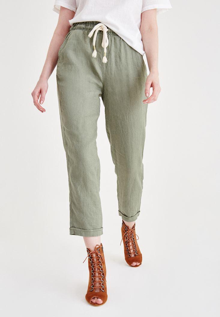 Yeşil Keten Cep Detaylı Pantolon