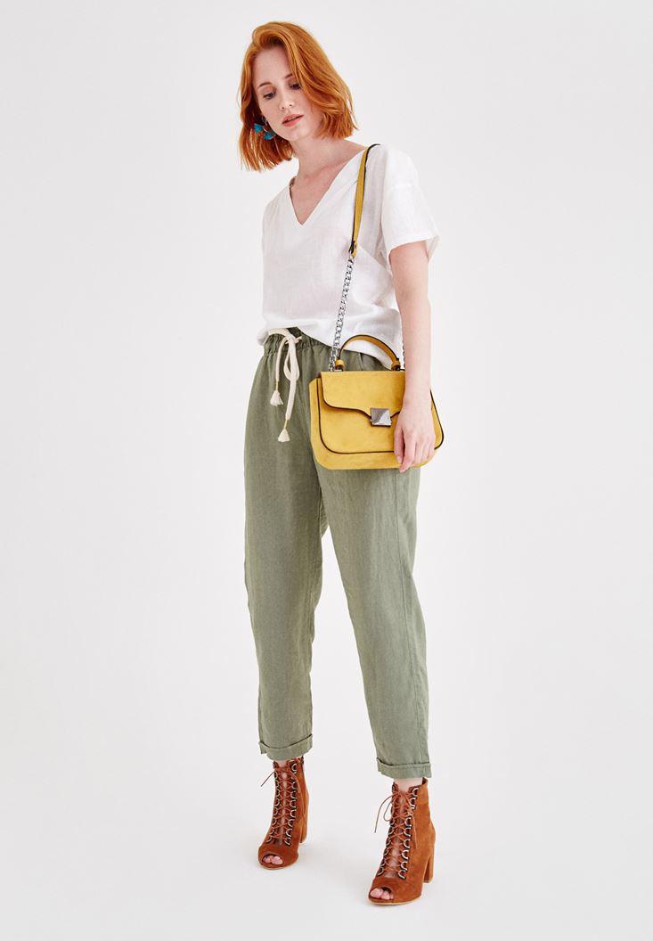 Women Green Linen Pants with Pocket Details