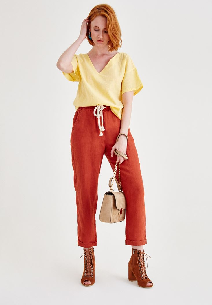 Bordeaux Linen Pants with Pocket Details
