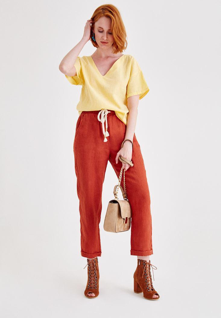 Women Bordeaux Linen Pants with Pocket Details
