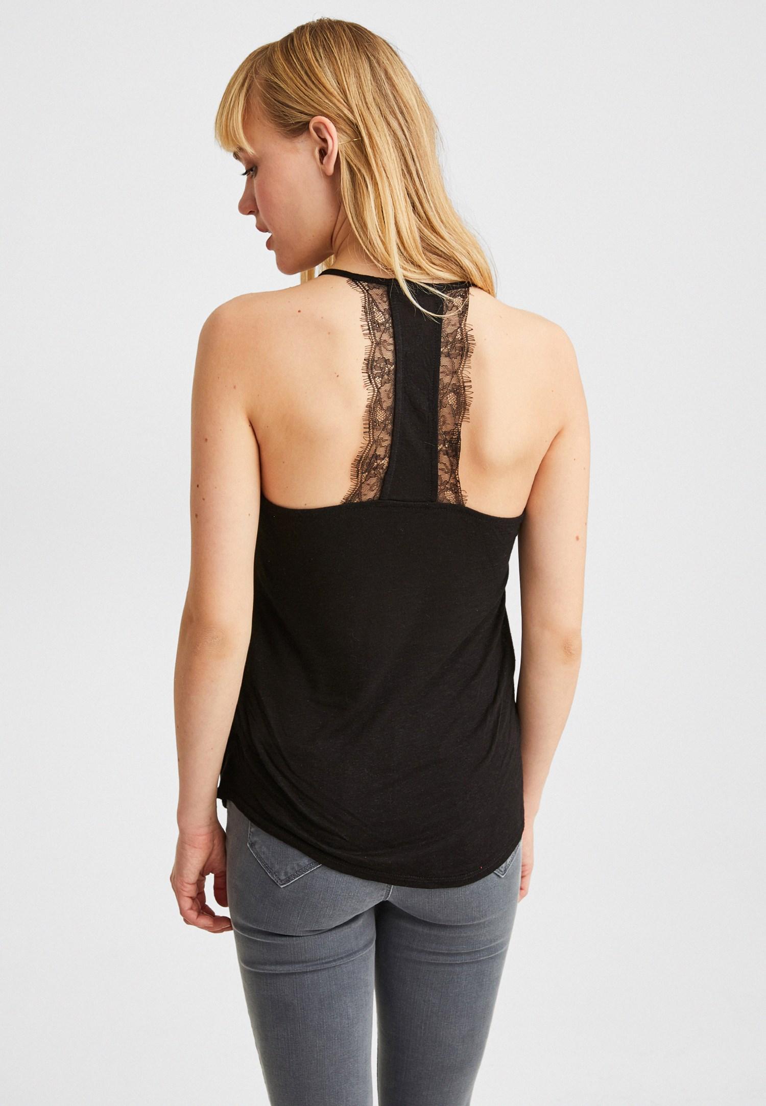 Women Black Linen Blouse with Lace Details
