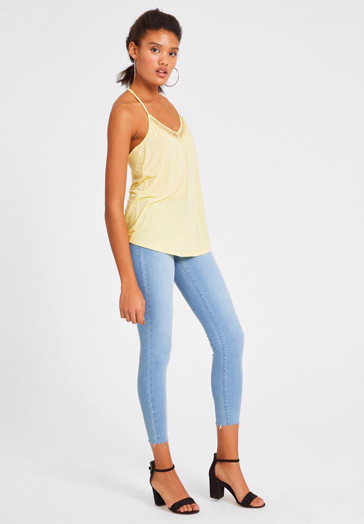 Bayan Sarı Dantel Detaylı Keten Bluz