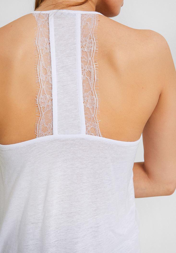 Bayan Beyaz Dantel Detaylı Keten Bluz