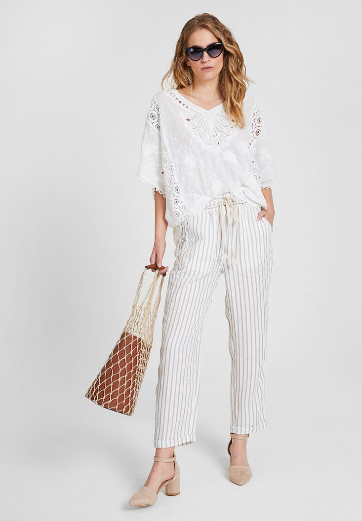 Mixed Linen Pants with Stripe Details