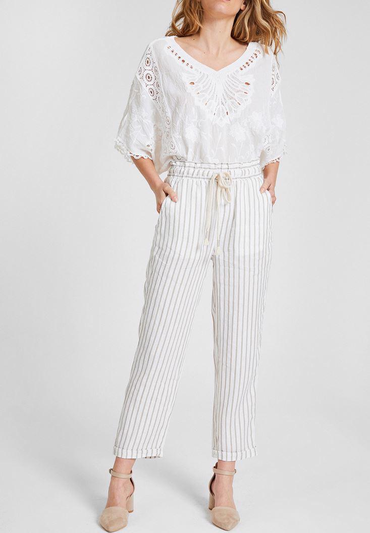 Women Mixed Linen Pants with Stripe Details