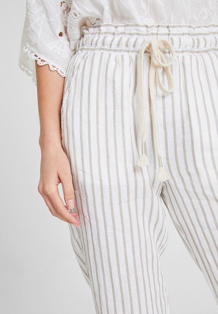 Bayan Çok Renkli Çizgi Desenli Keten Pantolon