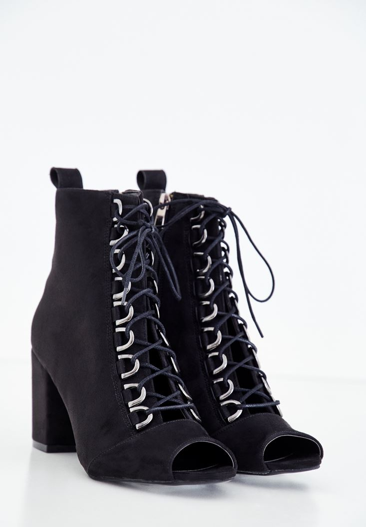 Black High Heel Boots with Lace
