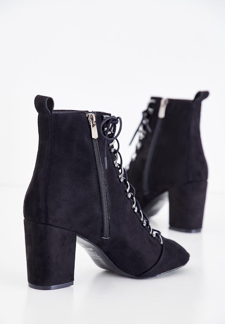Bayan Siyah Açık Burun Bağcıklı Topuklu Bot