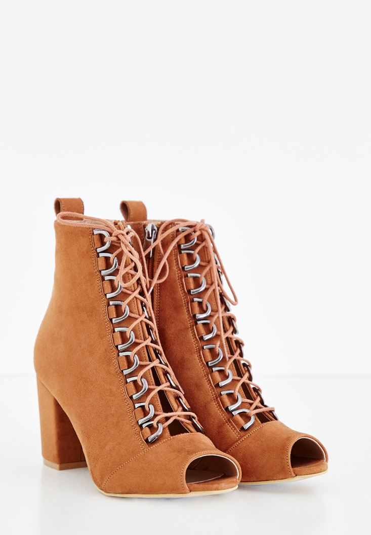 Brown High Heel Boots with Lace