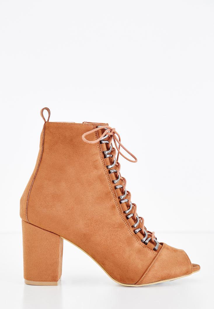 Women Brown High Heel Boots with Lace