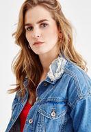 Bayan Mavi Yakası Yırtık Detaylı Jean Ceket