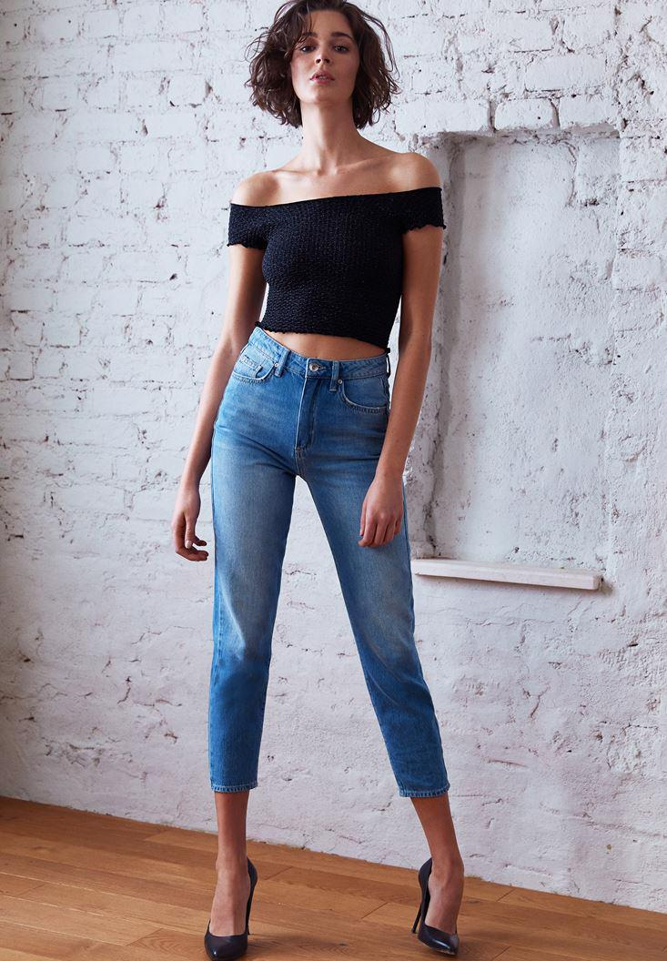 Women Blue High Rise Mom Jeans