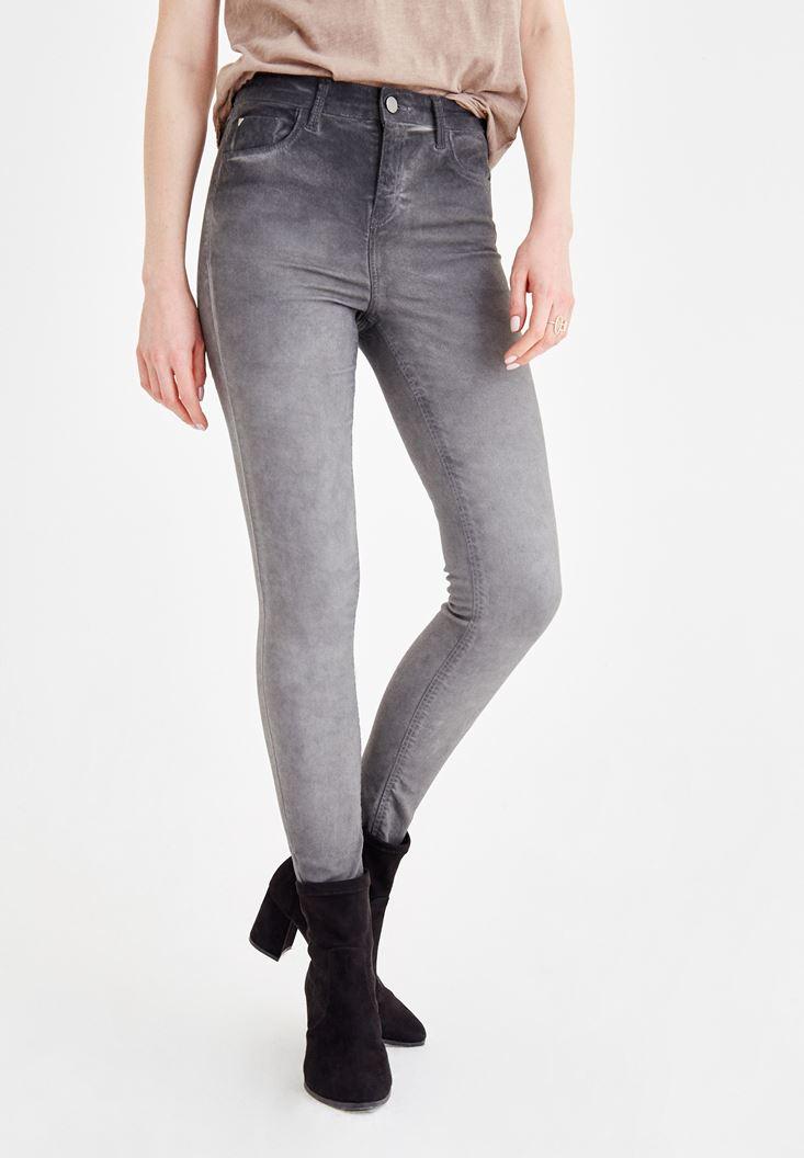 Gri Yüksek Bel Dar Paça Denim Pantolon