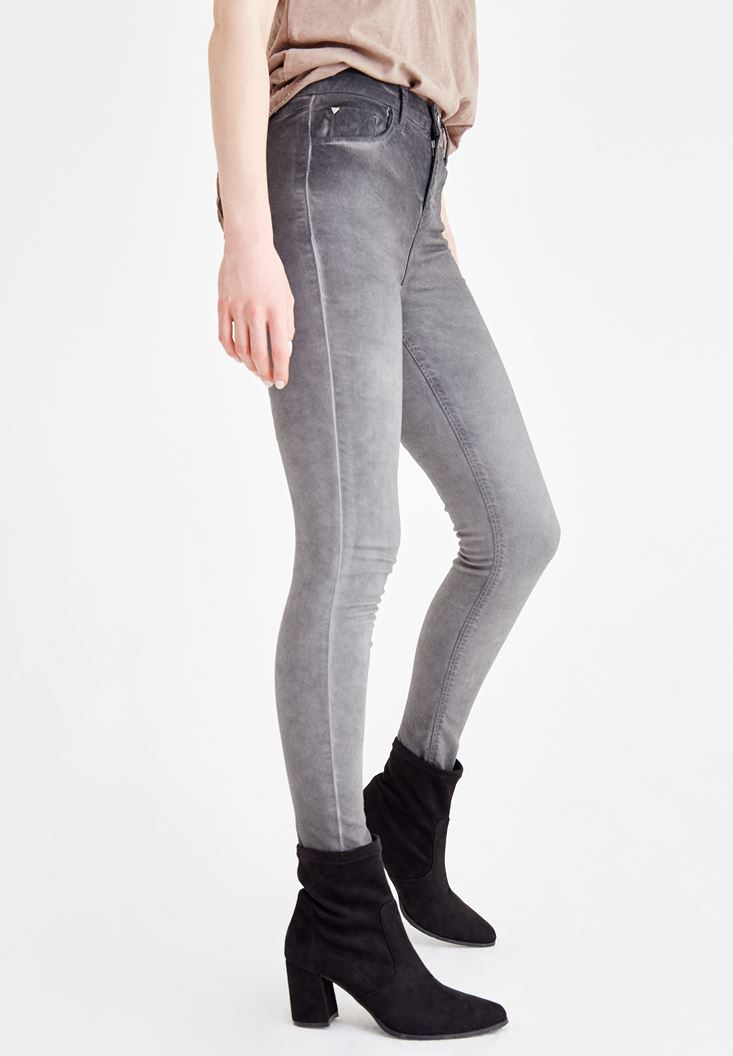 Bayan Gri Yüksek Bel Dar Paça Denim Pantolon