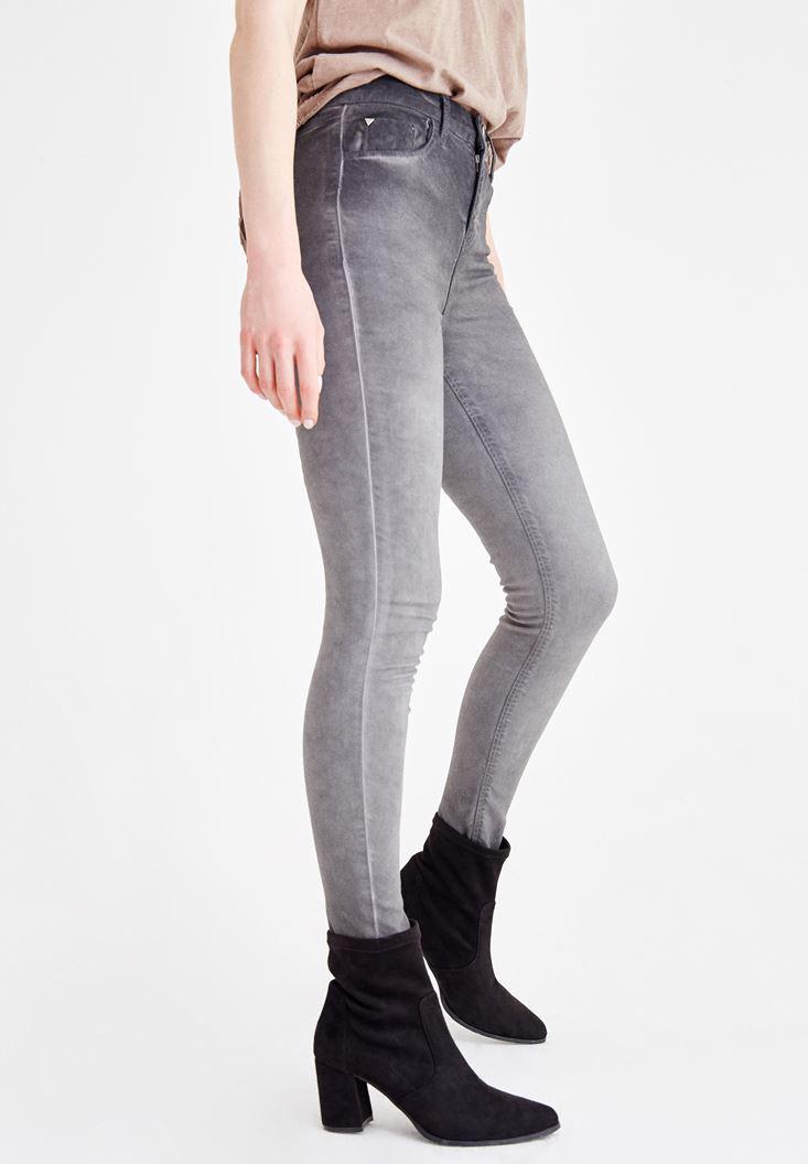 Women Grey High Rise Denim Pants