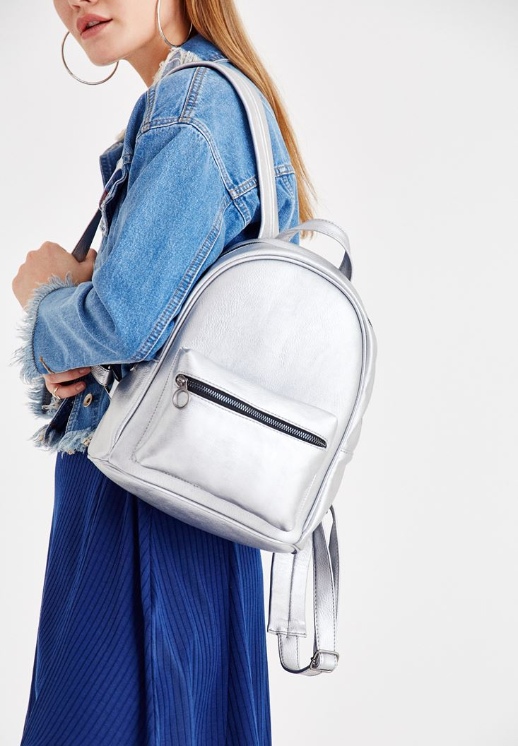 Grey Backpack with Zipper Details