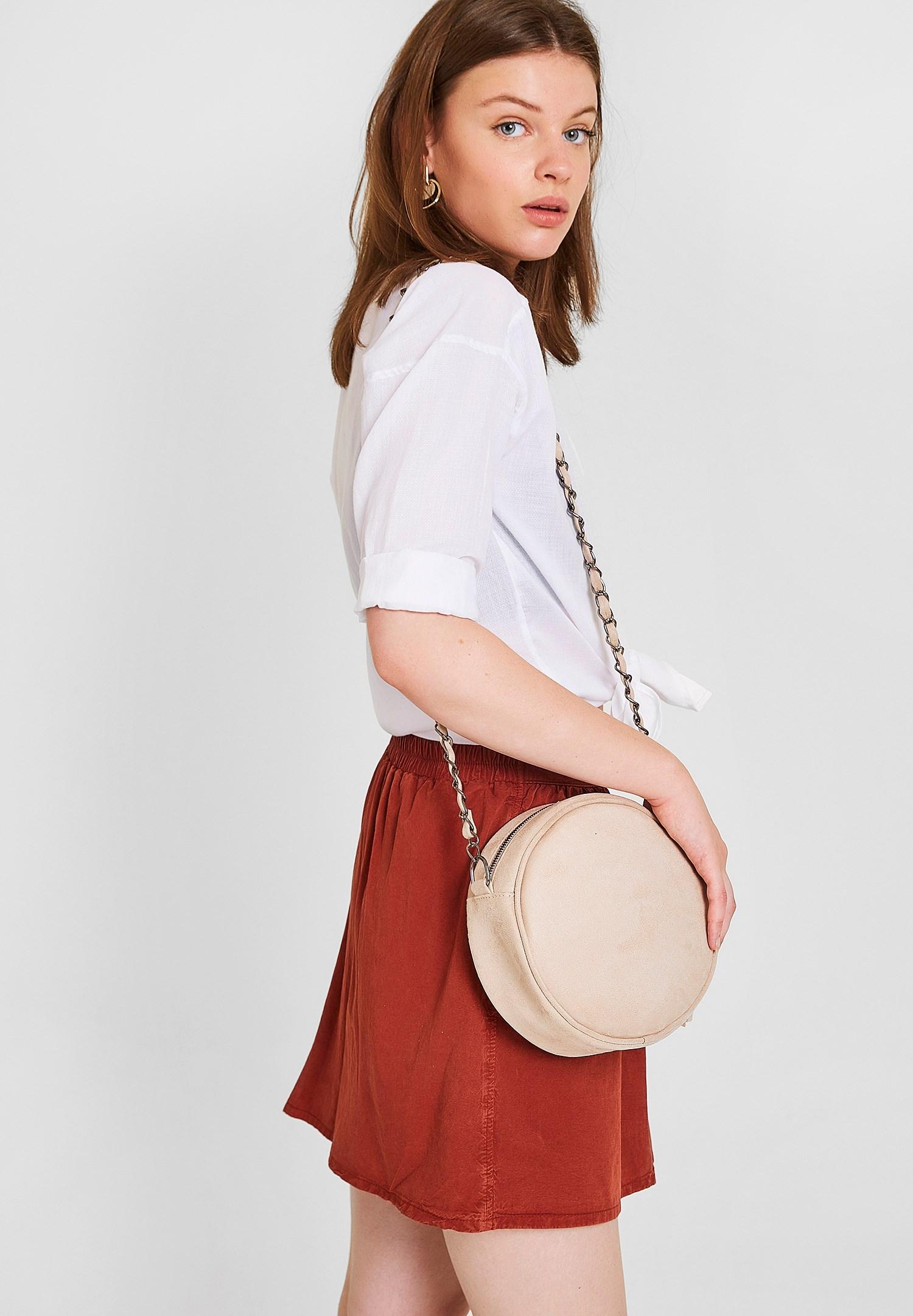 Bayan Gri Yuvarlak Formlu Askılı Çanta