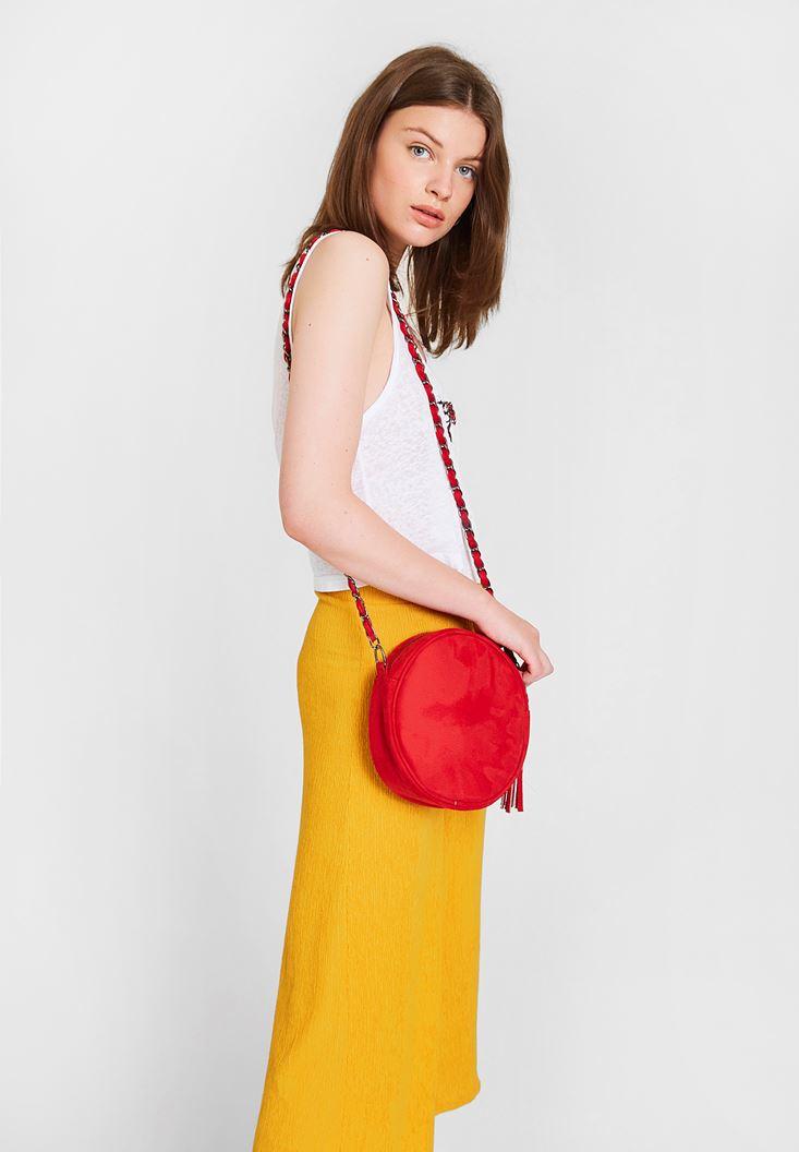 Kırmızı Yuvarlak Formlu Askılı Çanta
