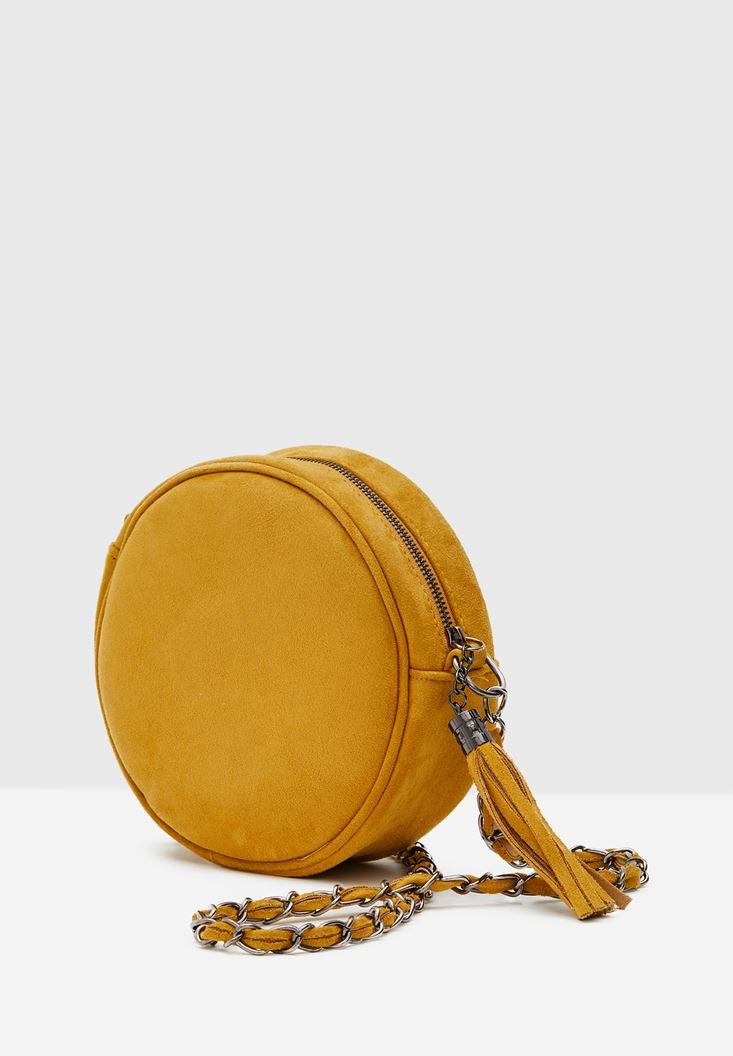 Sarı Yuvarlak Formlu Askılı Çanta