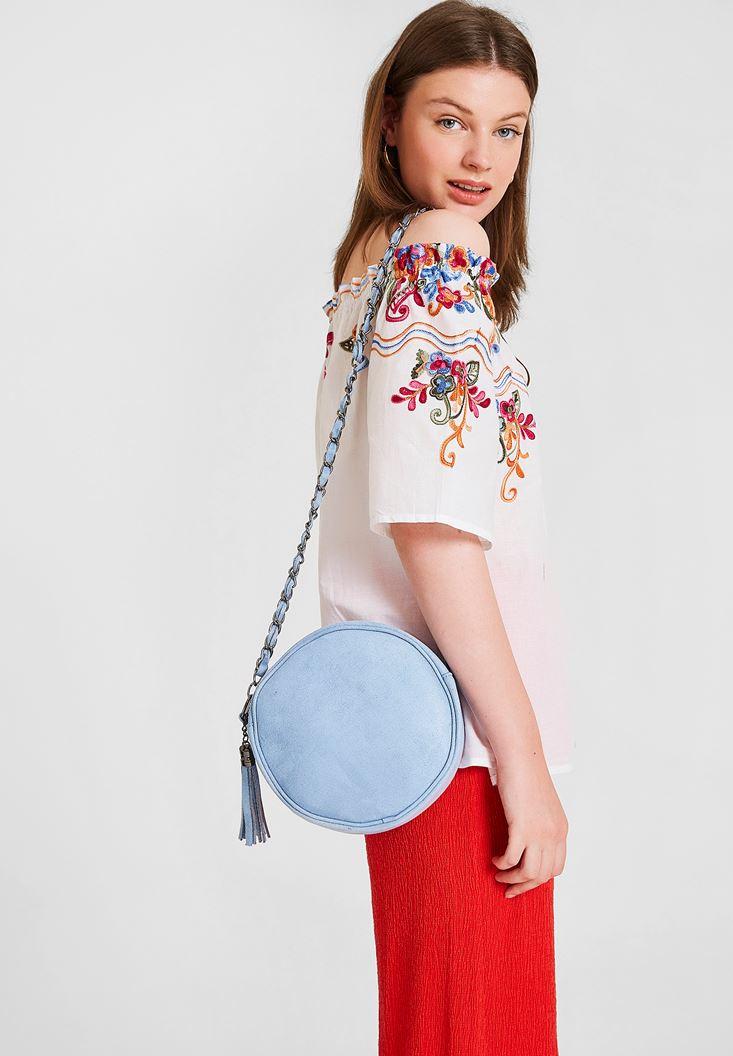 Mavi Yuvarlak Formlu Askılı Çanta