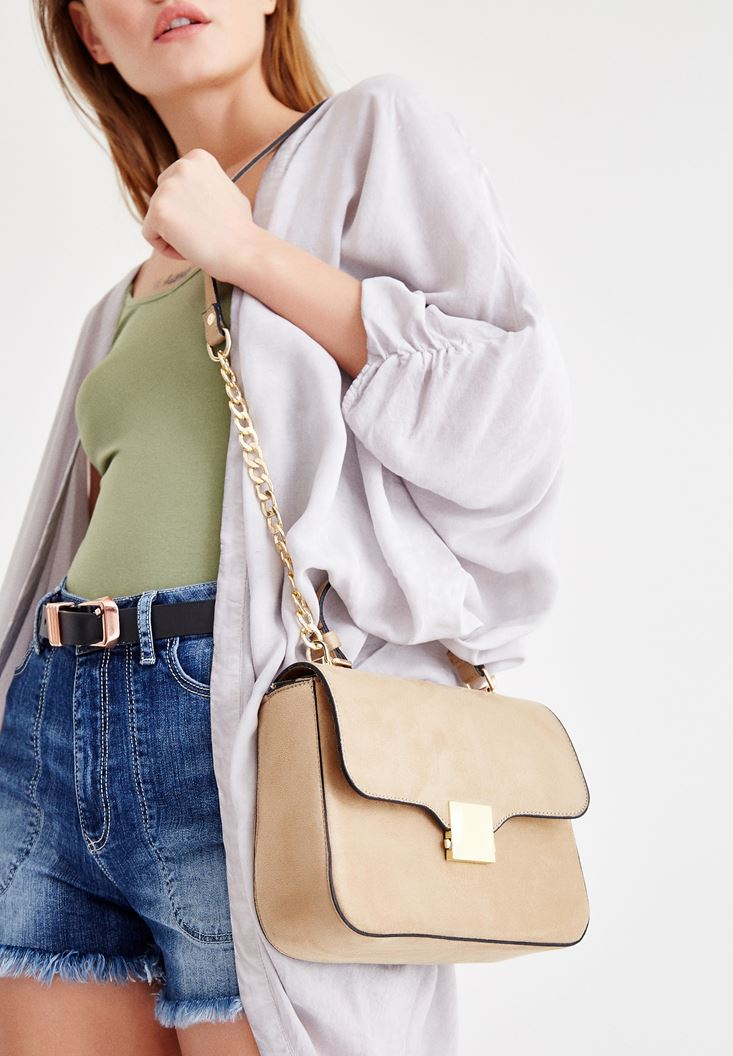 Grey Buckle Detailed Shoulder Bag