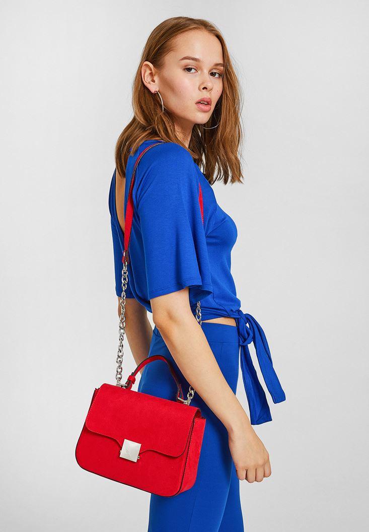 Red Buckle Detailed Shoulder Bag