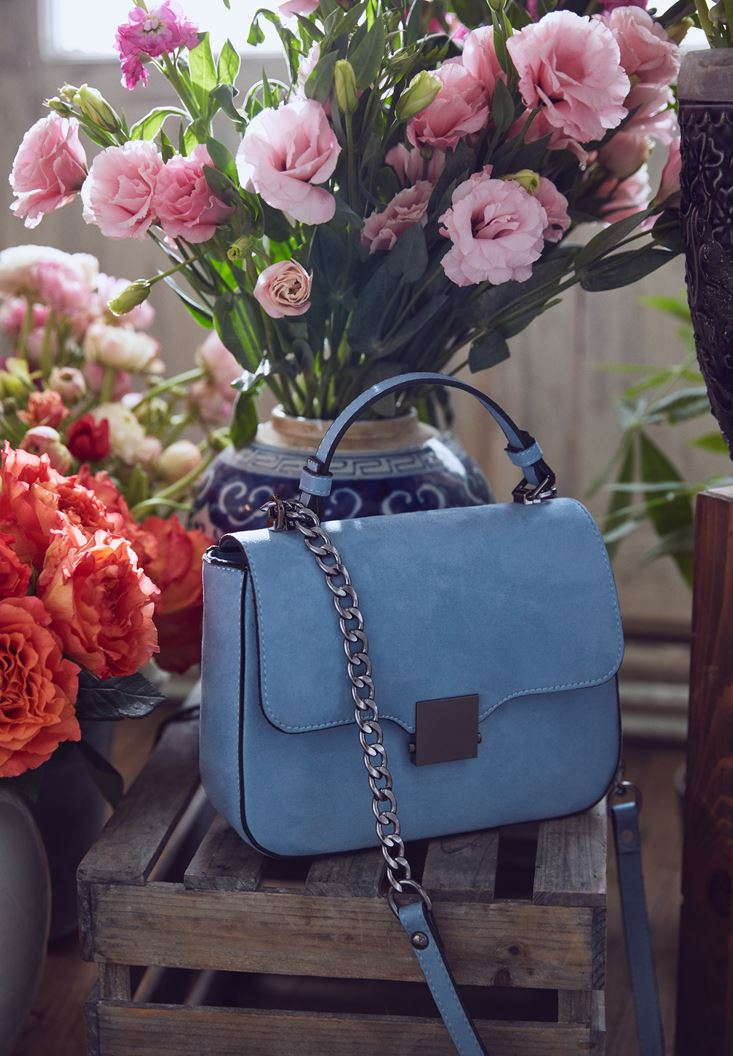 Blue Buckle Detailed Shoulder Bag