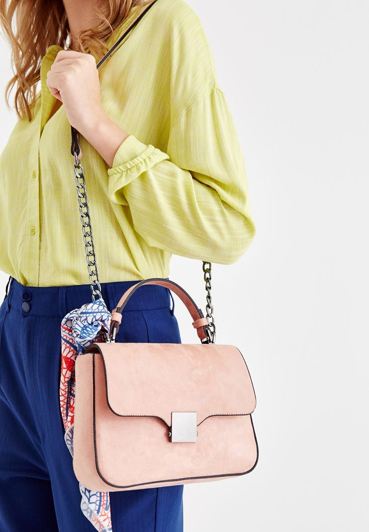 Pink Buckle Detailed Shoulder Bag