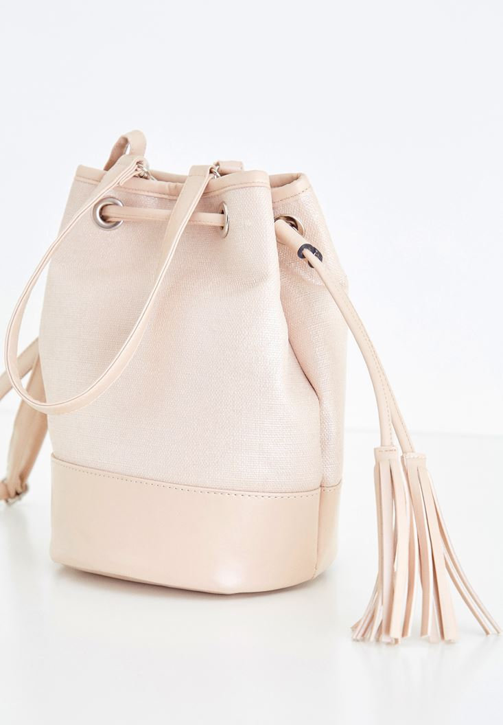 Pink Fringe Detailed Shoulder Bag