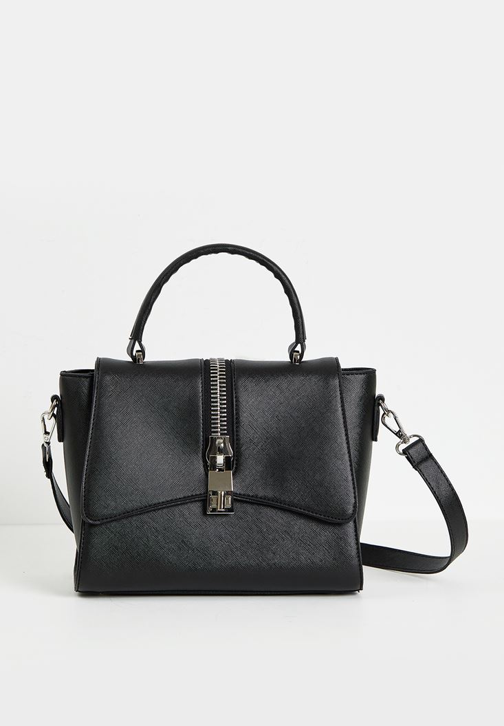 Black Crossbody Bag with Detail