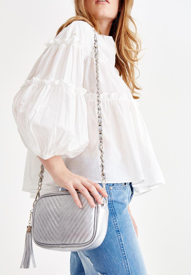 Gümüş Püskül Detaylı Askılı Çanta