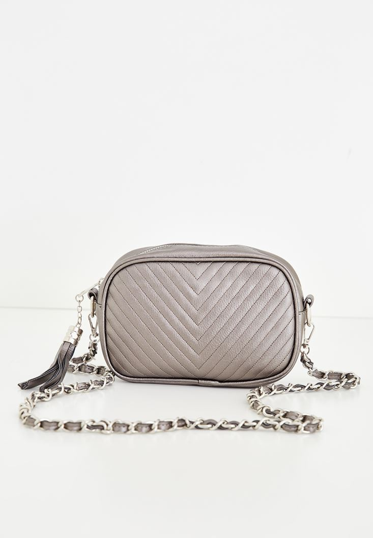 Grey Tasseled Detail Shoulder Bag