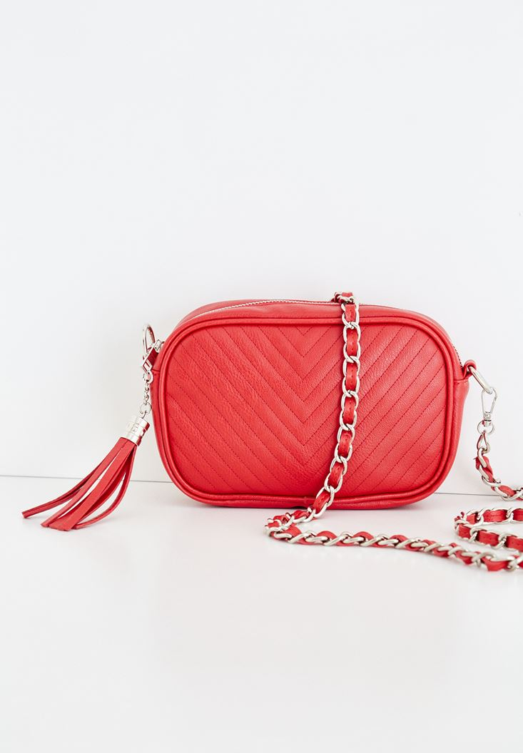Red Tasseled Detail Shoulder Bag