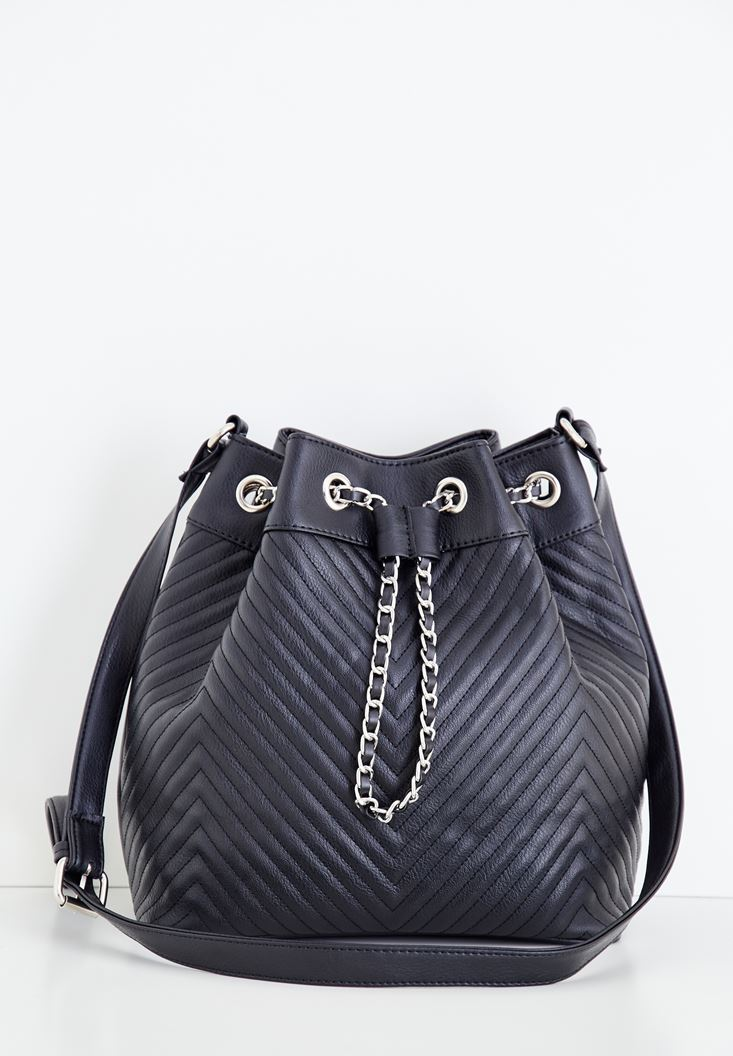 Black Crossbody Bag with Seam Details