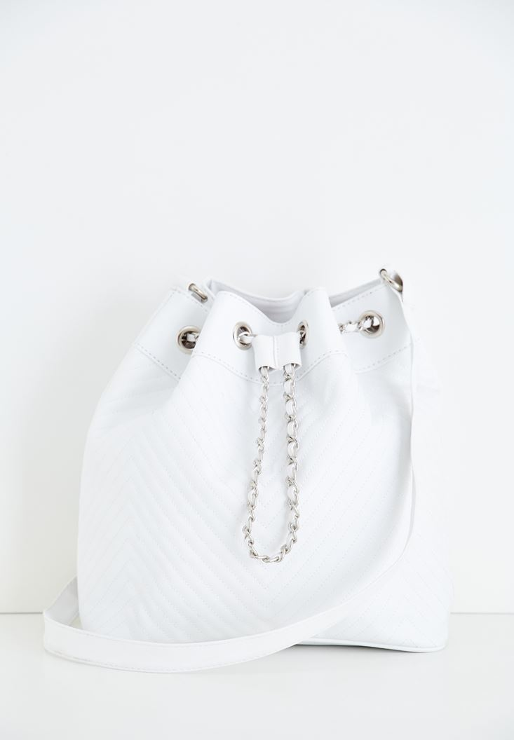 White Crossbody Bag with Seam Details