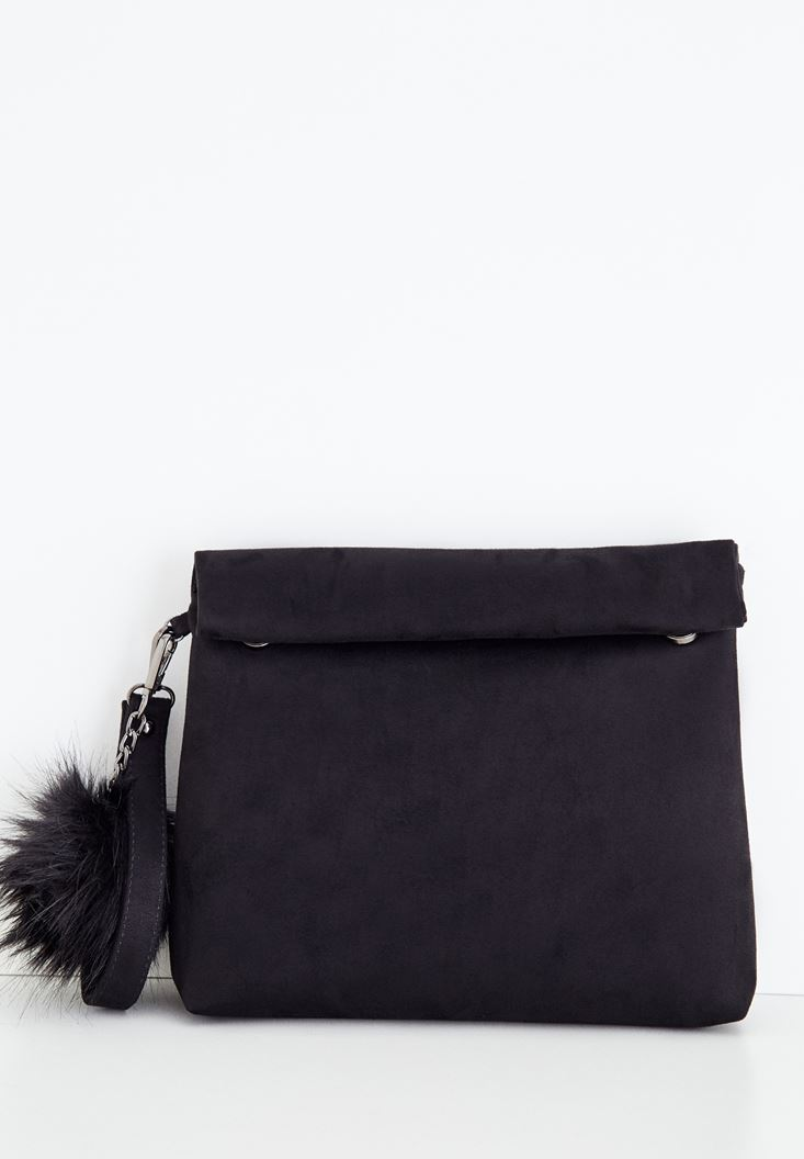 Black Clutch with Pompon Details