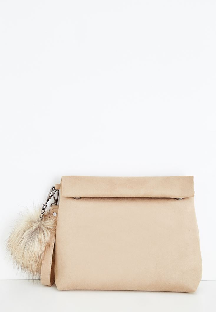 Brown Clutch with Pompon Details