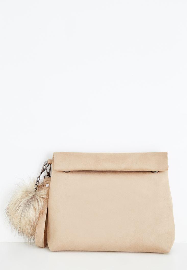 Kahverengi Ponpon Detaylı Çanta