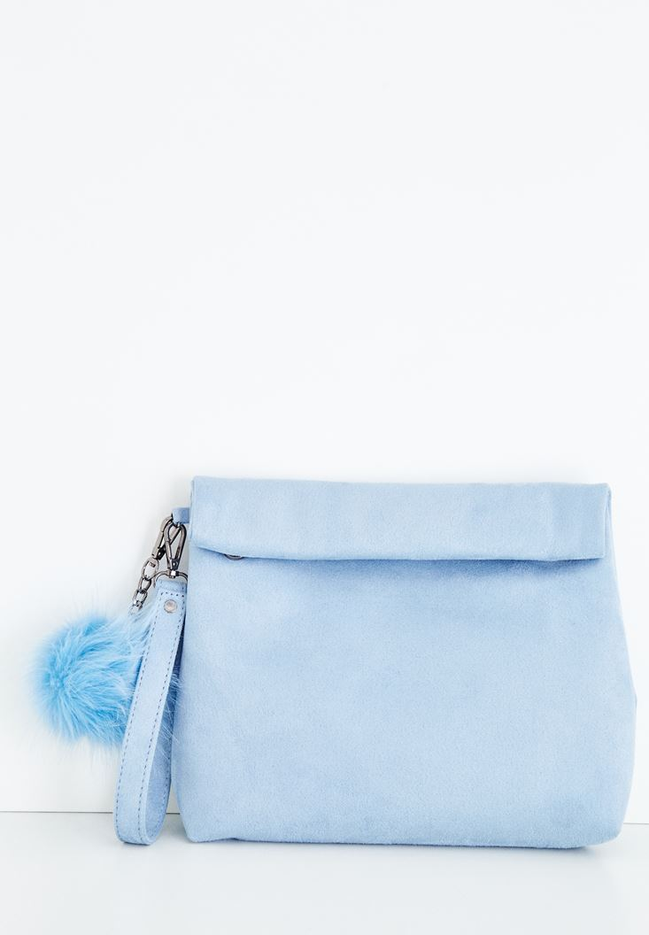 Blue Clutch with Pompon Details