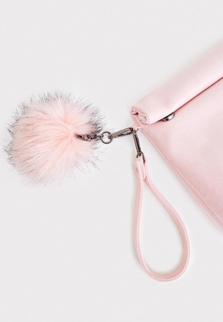 Women Pink Clutch with Pompon Details