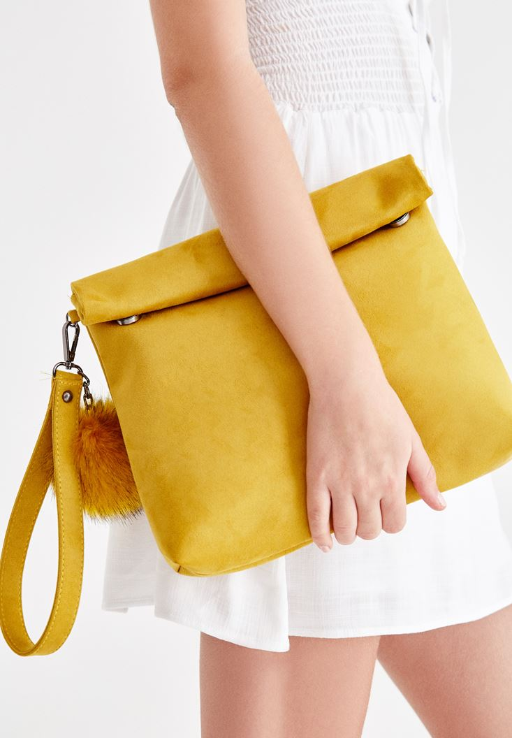 Yellow Clutch with Pompon Details