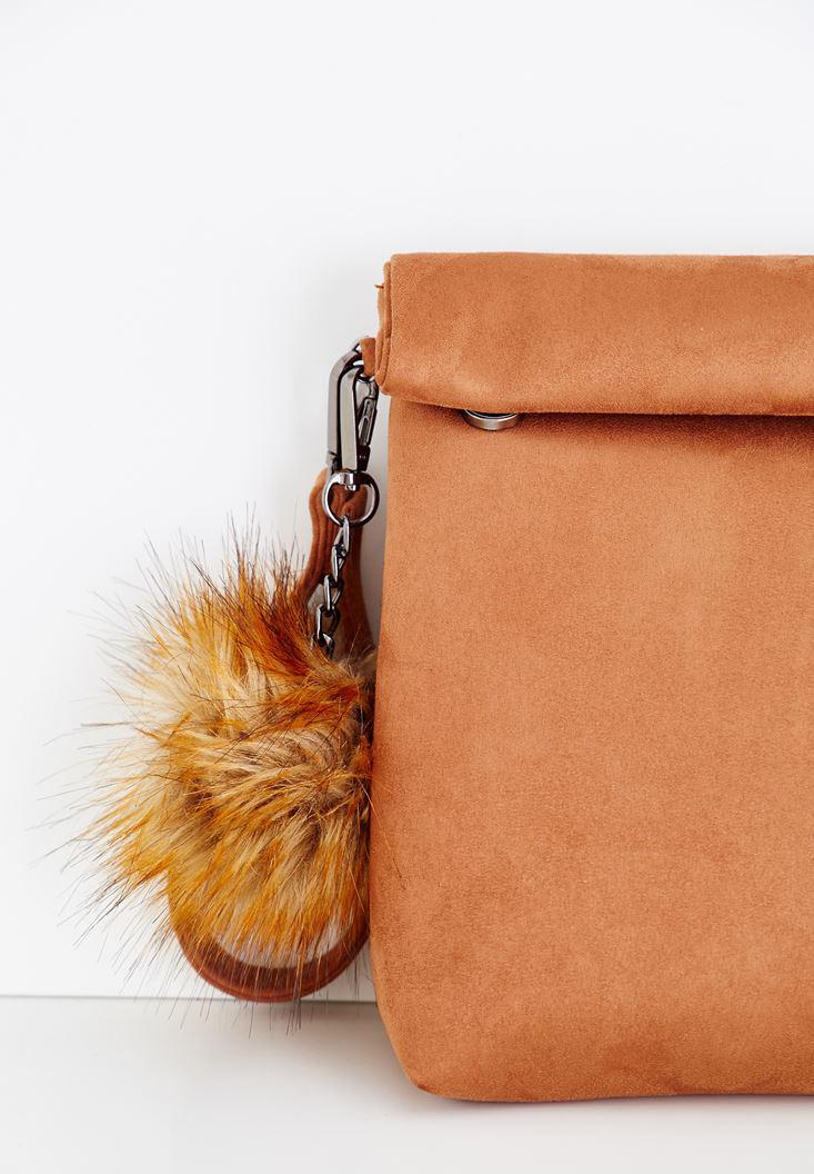 Women Brown Clutch with Pompon Details