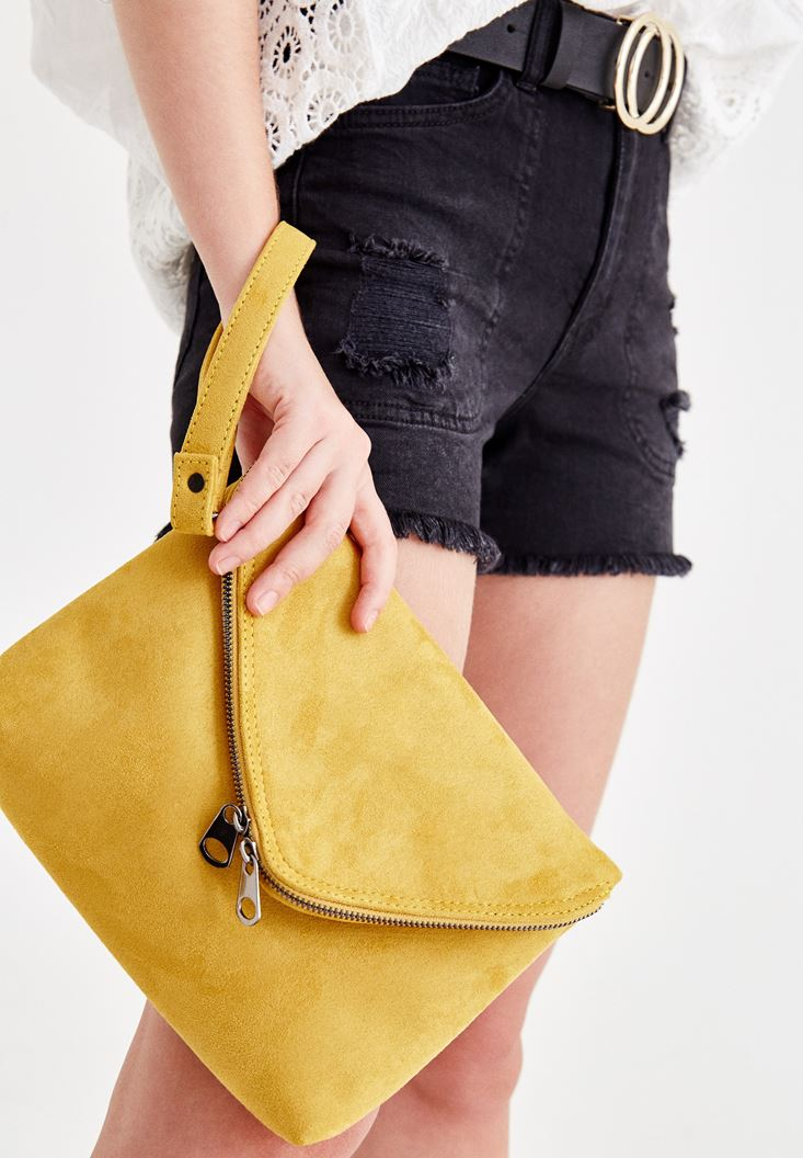 Yellow Suede Shoulder Bag
