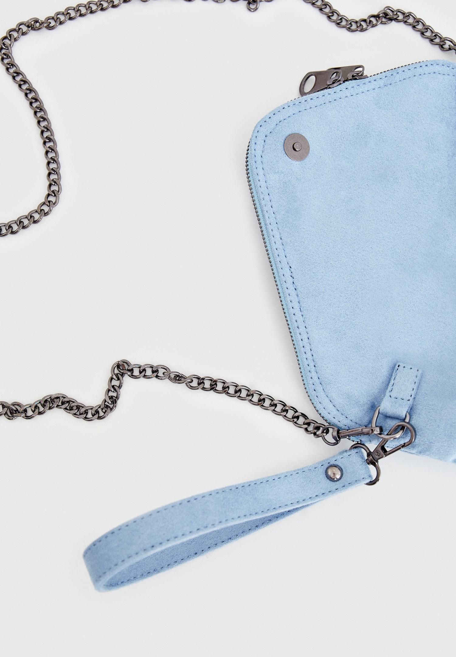 Bayan Mavi Zincir Askılı Süet Çanta