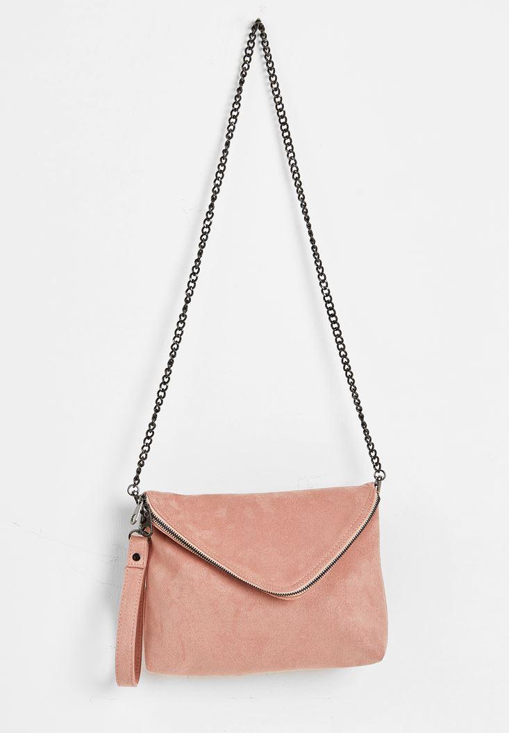 Cream Suede Shoulder Bag