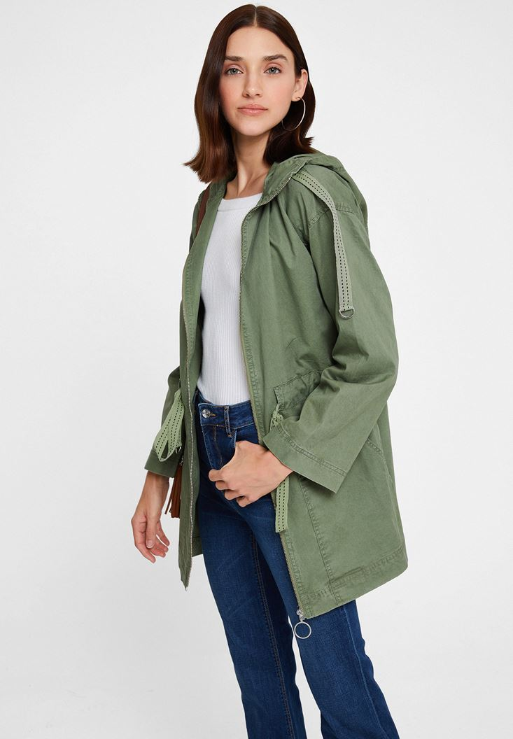 Green Trenchcoat with Pocket and Zipper