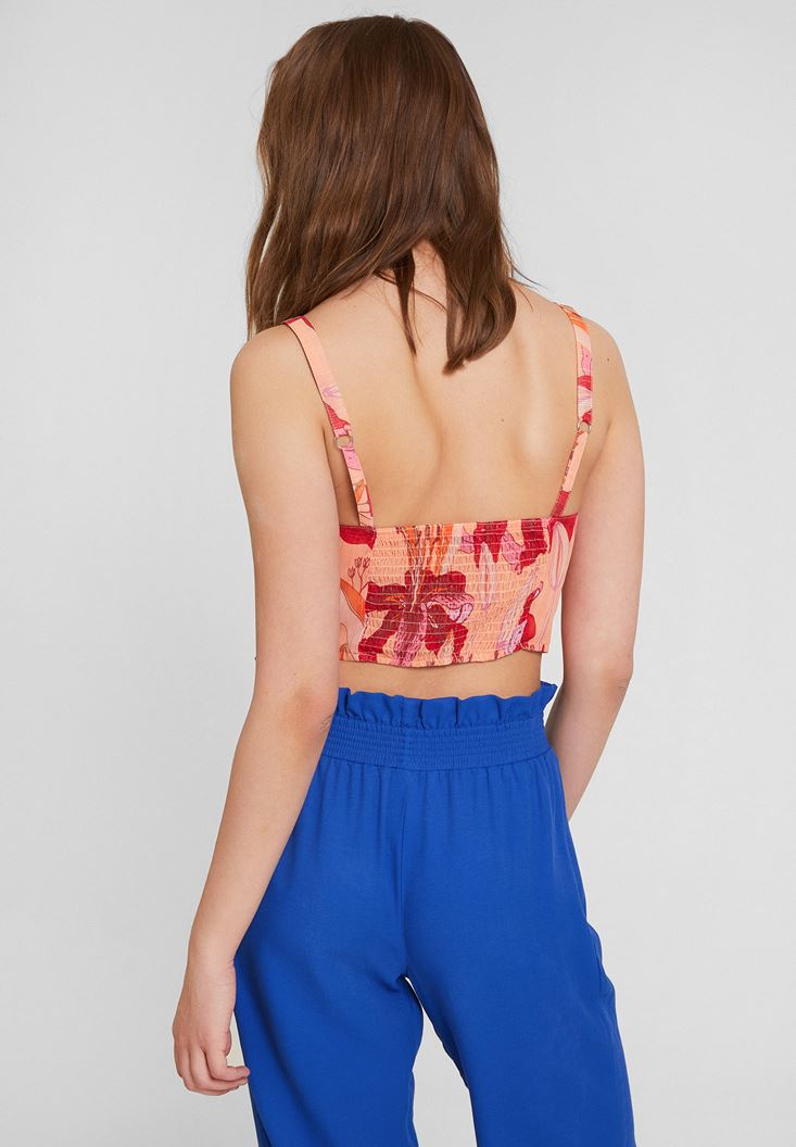 Bayan Çok Renkli Önü Bağlama Detaylı Crop Bluz