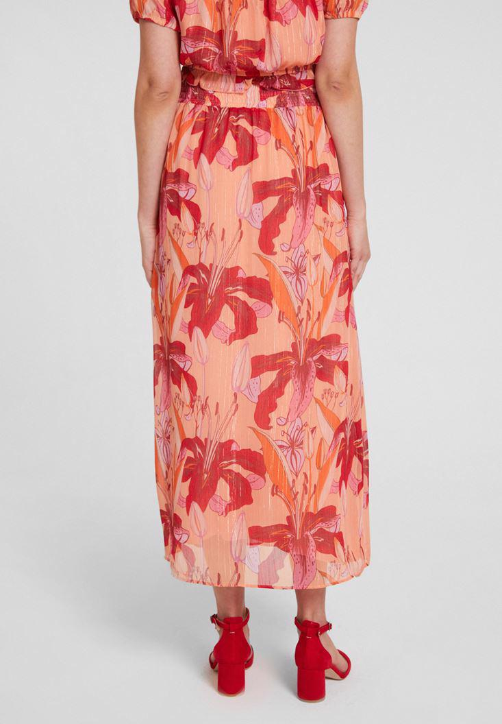 Women Mixed Skirt with Binding Details